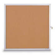 "United Visual Products 18""W x 24""H Slim Style Enclosed Corkboard with Satin Frame"
