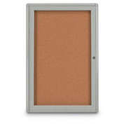 "United Visual Products 18""W x 24""H 1-Door Indoor Enclosed Corkboard with Radius Corners"