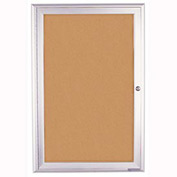 "United Visual Products 24""W x 36""H 1-Door Indoor Enclosed Corkboard with Radius Frame"