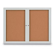 "United Visual Products 48""W x 36""H 2-Door Indoor Enclosed Corkboard with Radius Corners"