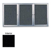 "United Visual 72""W x 36""H 3-Door Radius Framed Enclosed Black Easy Tack Board with Satin Frame"