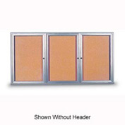 "United Visual Products 72""W x 36""H 3-Door Indoor Enclosed Corkboard with Header and Radius Frame"