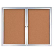 "United Visual Products 42""W x 32""H 2-Door Outdoor Enclosed Corkboard with Radius Frame"