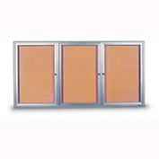 "United Visual Products 72""W x 36""H 3-Door Outdoor Enclosed Corkboard with Radius Frame"