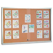 "United Visual Products 60""W x 36""H Sliding Glass Door Corkboard with Satin Frame"