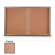 "United Visual Products 48""W x 36""H Sliding Door Corkboard with Light Oak Frame"