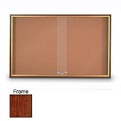 "United Visual Products 60""W x 36""H Sliding Door Corkboard with Cherry Frame"