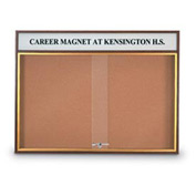 "United Visual Products 96""W x 36""H Sliding Door Corkboard with Header and Walnut Frame"