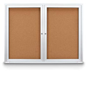 "United Visual Products 48""W x 36""H Outdoor Combo Board w/Two Corkboards"