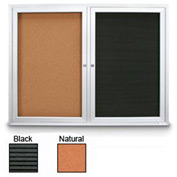 "United Visual Products 48""W x 36""H Outdoor Combo Board w/Licorice Vinyl Letterboard & Corkboard"