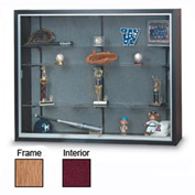 "48"" x 36"" x 8"" Oak Laminate Display Case w/Two Shelves and Burgundy Interior"