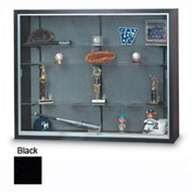 "48"" x 36"" x 8"" Black Laminate Display Case w/Two Shelves and Black Interior"