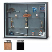 "60"" x 48"" x 8"" Oak Laminate Display Case w/Three Shelves and Black Interior"