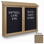 "United Visual Products 45""W x 36""H Letter Board Double Door Message Center with Weathered Wood Frame"