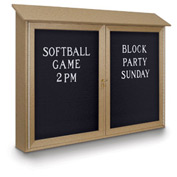 "United Visual Products 52""W x 40""H Letter Board Double Door Message Center with Sand Frame"