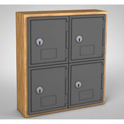 "United Visual Cell Phone Locker UVQ1023 - 4 Door 12"" x 4"" x 13-1/2"" Light Oak/Grey Door w/Key Lock"