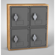 "United Visual Cell Phone Locker UVQ1025 - 4 Door 12"" x 4"" x 13-1/2"" Light Oak/Grey Door w/Hasp Lock"