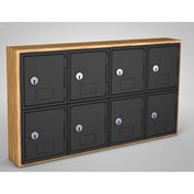 "United Visual Cell Phone Locker UVQ1026 - 8 Door 24"" x 4"" x 13-1/2"" Light Oak/Black Door w/Key Lock"