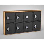 "United Visual Cell Phone Locker UVQ1028 - 8 Door 24"" x 4"" x 13-1/2"" Light Oak/Black Door w/Hasp Lock"