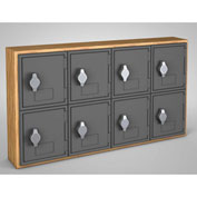 "United Visual Cell Phone Locker UVQ1029 - 8 Door 24"" x 4"" x 13-1/2"" Light Oak/Grey Door w/Hasp Lock"