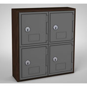 "United Visual Cell Phone Locker UVQ1031 - 4 Door 12"" x 4"" x 13-1/2"" Walnut/Grey Door w/Key Lock"