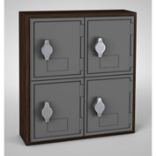 "United Visual Cell Phone Locker UVQ1033 - 4 Door 12"" x 4"" x 13-1/2"" Walnut/Grey Door w/Hasp Lock"