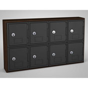 "United Visual Cell Phone Locker UVQ1034 - 8 Door 24"" x 4"" x 13-1/2"" Walnut/Black Door w/Key Lock"