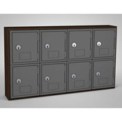 "United Visual Cell Phone Locker UVQ1035 - 8 Door 24"" x 4"" x 13-1/2"" Walnut/Grey Door w/Key Lock"
