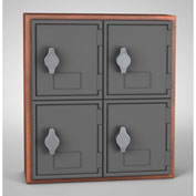 "United Visual Cell Phone Locker UVQ1041 - 4 Door 12"" x 4"" x 13-1/2"" Cherry/Grey Door w/Hasp Lock"