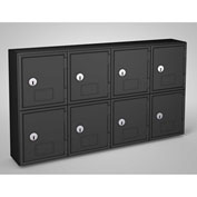 "United Visual Cell Phone Locker UVQ1048 - 8 Door 22"" x 4"" x 12-1/2"" Black/Black Door w/Key Lock"