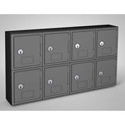 "United Visual Cell Phone Locker UVQ1052 - 8 Door 22"" x 4"" x 12-1/2"" Black/Grey Door w/Key Lock"