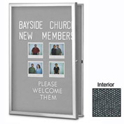 "United Visual Products 24""W x 36""H Radius Slim Line Enclosed Black Easy Tack Board"