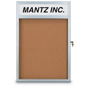 "United Visual Products 42""W x 32""H Slim Style Radius Framed Corkboard with Header and Satin Frame"