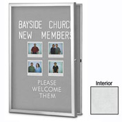 "United Visual Products 48""W x 36""H Radius Slim Line Enclosed White Easy Tack Board"