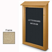 "United Visual Products 26""W x 42""H Single Door Letter Board Message Center with Sand Frame"