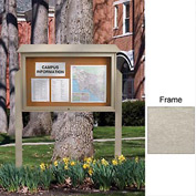 "United Visual Products 45""W x 30""H Cork Top-Hinged Single Door Message Center with Light Gray Frame"