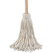 "24 Oz. 54"" Wooden Handle Cotton Deck Mops, White 6/Pack - UNS124C"