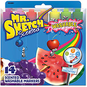 Mr. Sketch® Washable Markers, Chisel, Assorted Colors, 14/Set