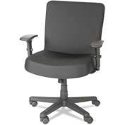 Alera Plus™ Big and Tall Task Chair with Arms - Fabric -  Mid Back - Black - XL Series