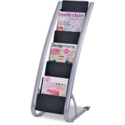 "Alba DDEXPO6 Literature Floor 6-Pocket Display Rack, 12-4/5""W x 18-2/5""D x 36""H, BLK/Chrome"