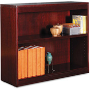 "Alera ALEBCS23036MY Square Corner Wood Veneer Bookcase, 2-Shelf, 35 5/8""Wx11-3/4""Dx30""H, Mahogany"