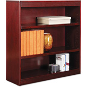 "Alera ALEBCS33636MY Square Corner Wood Veneer Bookcase, 3-Shelf, 35 5/8""Wx11-3/4""Dx36""H, Mahogany"