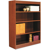 "Alera ALEBCS44836MC Square Corner Wood Veneer Bookcase, 4-Shelf, 35 5/8""Wx11-3/4""Dx48""H, Cherry"