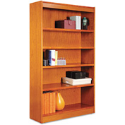 "Alera ALEBCS56036MC Square Corner Wood Veneer Bookcase, 5-Shelf, 35 5/8""Wx11-3/4""Dx60""H, Cherry"