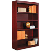 "Alera ALEBCS56036MY Square Corner Wood Veneer Bookcase, 5-Shelf, 35 5/8""Wx11-3/4""Dx60""H, Mahogany"