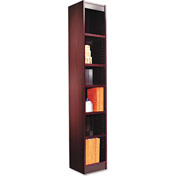 "Alera ALEBCS67212MY Narrow Profile Bookcase, Wood Veneer, 6-Shelf,12""Wx12""Dx72""H, Mahogany"
