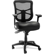 Alera® Multifunction Mesh Chair - Leather - Mid Back - Black - Elusion Series