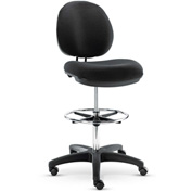 Alera® Swivel Task Stool - Synthetic Leather - Black