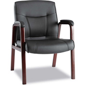 Alera® Madaris Leather Guest Chair - Black/Mahogany