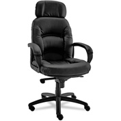 Alera® Nico High Back Swivel Chair - Leather - Black